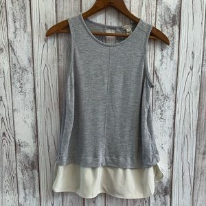 J Crew gray tank top with ruffle bottom size XS